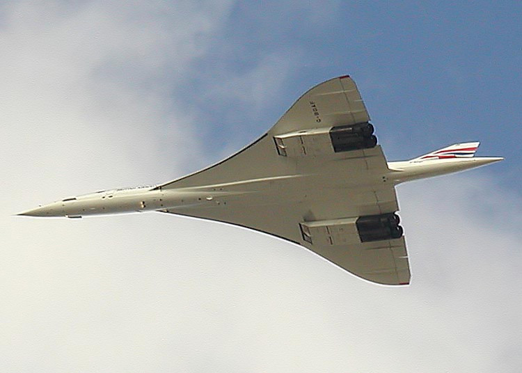The large surface delta wing of a the supersonic Concorde